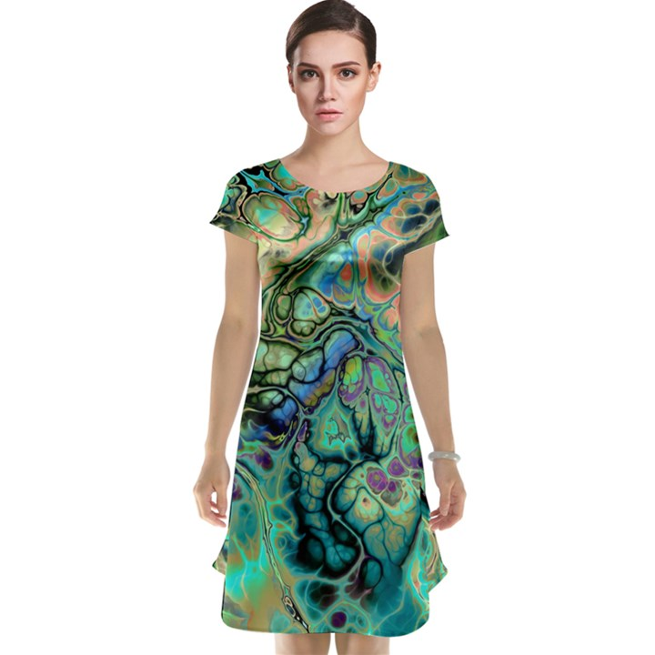Fractal Batik Art Teal Turquoise Salmon Cap Sleeve Nightdress