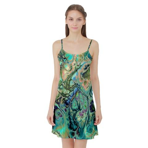 Fractal Batik Art Teal Turquoise Salmon Satin Night Slip