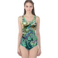 Fractal Batik Art Teal Turquoise Salmon One Piece Swimsuit