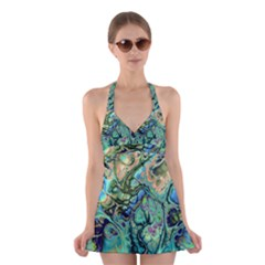 Fractal Batik Art Teal Turquoise Salmon Halter Swimsuit Dress