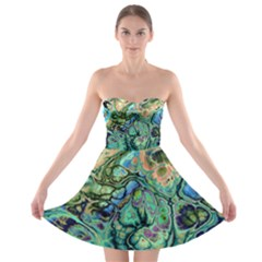 Fractal Batik Art Teal Turquoise Salmon Strapless Bra Top Dress