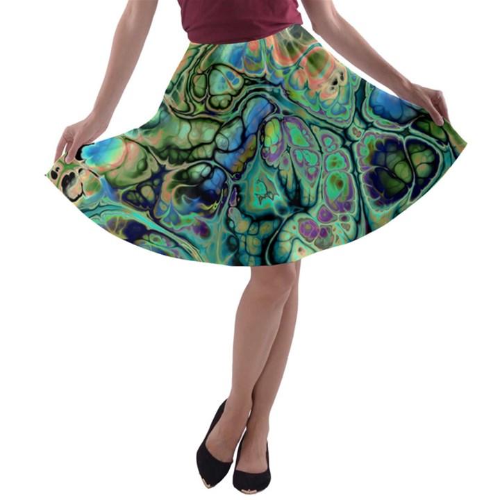 Fractal Batik Art Teal Turquoise Salmon A-line Skater Skirt