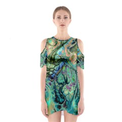Fractal Batik Art Teal Turquoise Salmon Cutout Shoulder Dress
