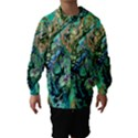 Fractal Batik Art Teal Turquoise Salmon Hooded Wind Breaker (Kids) View1