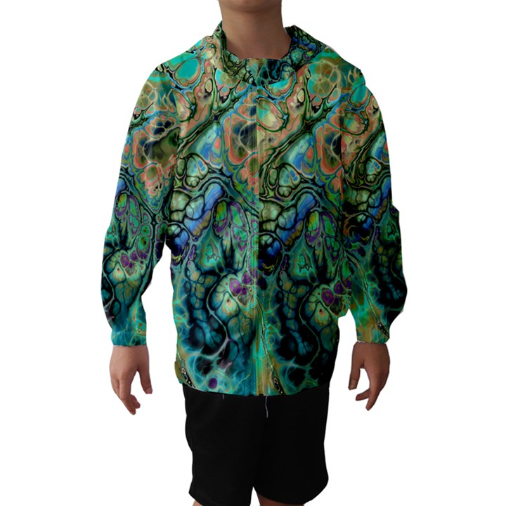 Fractal Batik Art Teal Turquoise Salmon Hooded Wind Breaker (Kids)