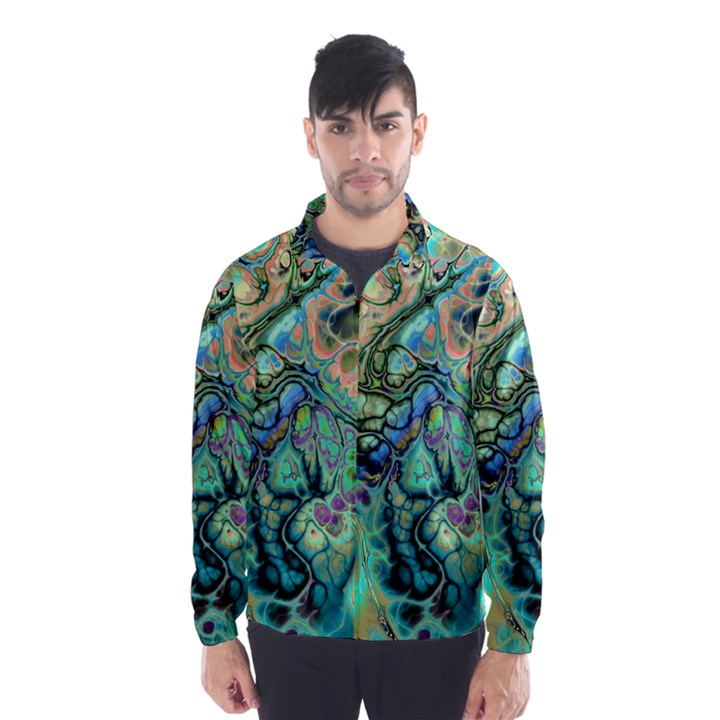 Fractal Batik Art Teal Turquoise Salmon Wind Breaker (Men)