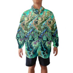 Fractal Batik Art Teal Turquoise Salmon Wind Breaker (Kids)