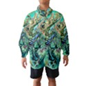 Fractal Batik Art Teal Turquoise Salmon Wind Breaker (Kids) View1