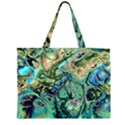 Fractal Batik Art Teal Turquoise Salmon Large Tote Bag View1