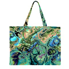 Fractal Batik Art Teal Turquoise Salmon Zipper Large Tote Bag