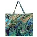 Fractal Batik Art Teal Turquoise Salmon Zipper Large Tote Bag View1