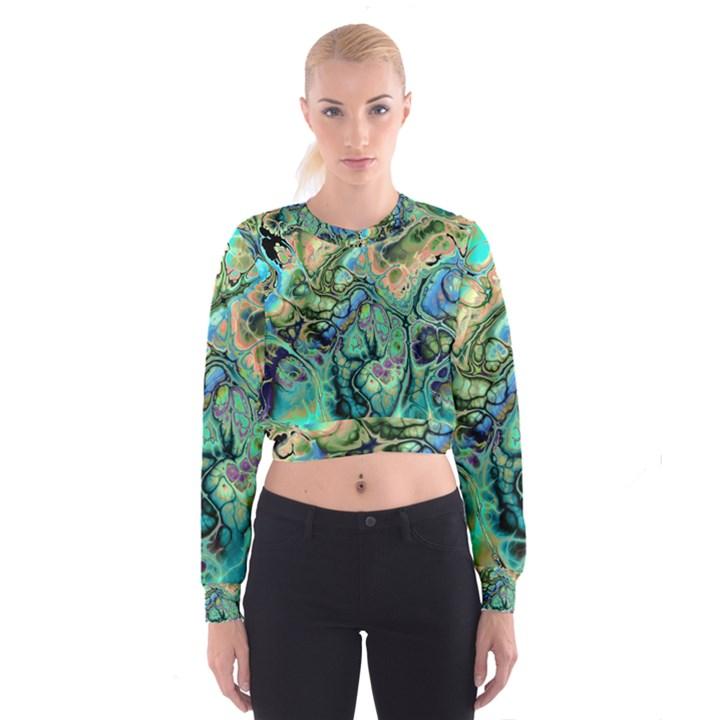 Fractal Batik Art Teal Turquoise Salmon Women s Cropped Sweatshirt