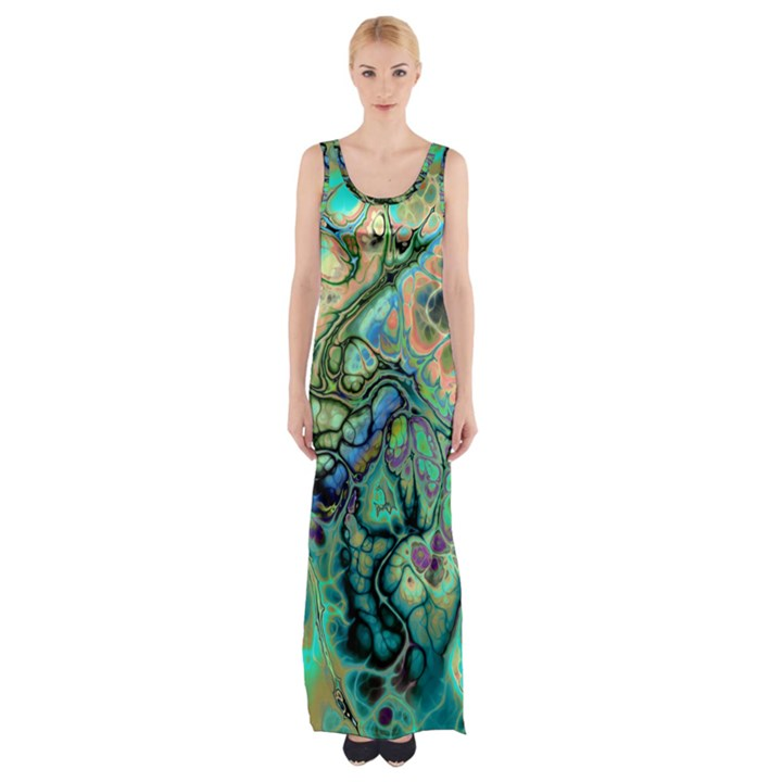 Fractal Batik Art Teal Turquoise Salmon Maxi Thigh Split Dress