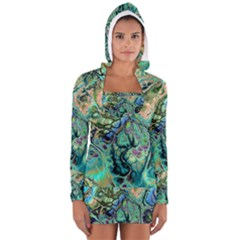 Fractal Batik Art Teal Turquoise Salmon Women s Long Sleeve Hooded T Shirt