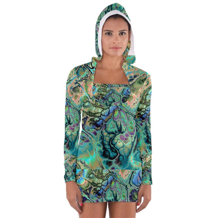 Fractal Batik Art Teal Turquoise Salmon Women s Long Sleeve Hooded T-shirt