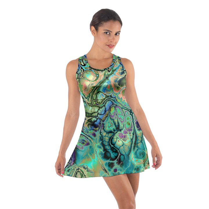 Fractal Batik Art Teal Turquoise Salmon Cotton Racerback Dress
