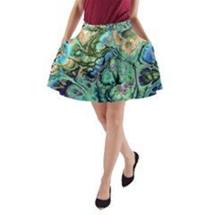 Fractal Batik Art Teal Turquoise Salmon A Line Pocket Skirt