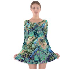 Fractal Batik Art Teal Turquoise Salmon Long Sleeve Velvet Skater Dress
