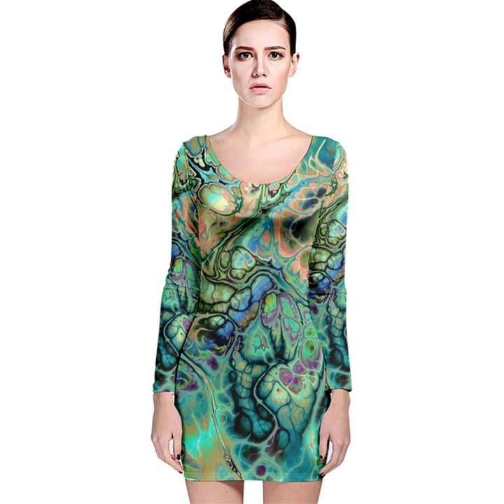 Fractal Batik Art Teal Turquoise Salmon Long Sleeve Velvet Bodycon Dress