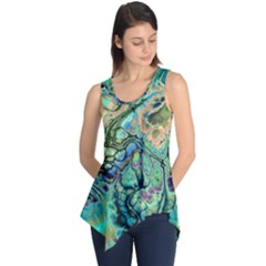 Fractal Batik Art Teal Turquoise Salmon Sleeveless Tunic