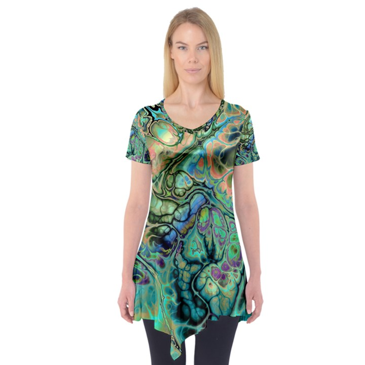 Fractal Batik Art Teal Turquoise Salmon Short Sleeve Tunic