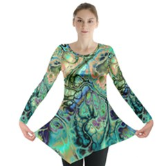 Fractal Batik Art Teal Turquoise Salmon Long Sleeve Tunic