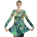 Fractal Batik Art Teal Turquoise Salmon Long Sleeve Tunic  View1