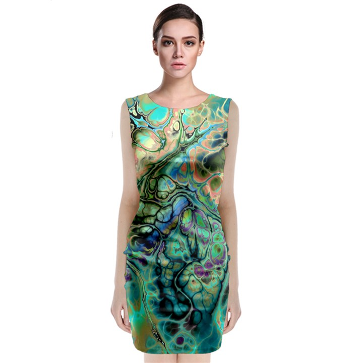 Fractal Batik Art Teal Turquoise Salmon Classic Sleeveless Midi Dress