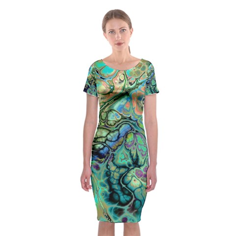 Fractal Batik Art Teal Turquoise Salmon Classic Short Sleeve Midi Dress