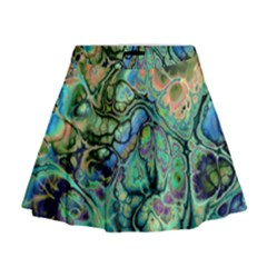 Fractal Batik Art Teal Turquoise Salmon Mini Flare Skirt