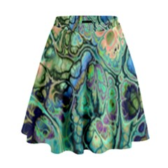 Fractal Batik Art Teal Turquoise Salmon High Waist Skirt