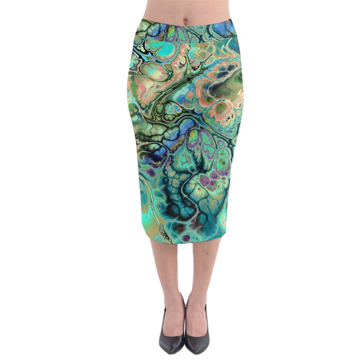 Fractal Batik Art Teal Turquoise Salmon Midi Pencil Skirt
