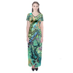 Fractal Batik Art Teal Turquoise Salmon Short Sleeve Maxi Dress