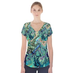 Fractal Batik Art Teal Turquoise Salmon Short Sleeve Front Detail Top