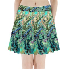 Fractal Batik Art Teal Turquoise Salmon Pleated Mini Skirt