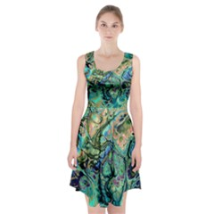 Fractal Batik Art Teal Turquoise Salmon Racerback Midi Dress