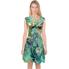 Fractal Batik Art Teal Turquoise Salmon Capsleeve Midi Dress