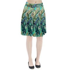 Fractal Batik Art Teal Turquoise Salmon Pleated Skirt