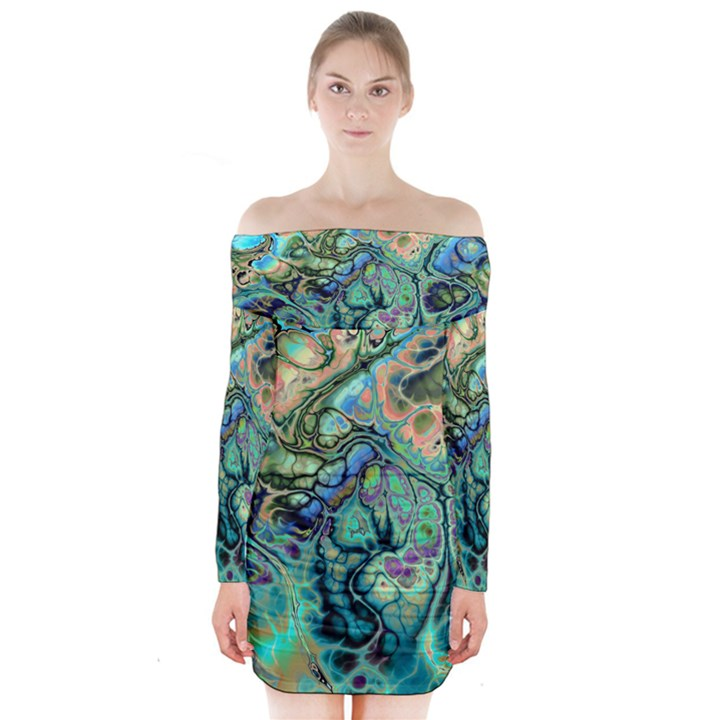 Fractal Batik Art Teal Turquoise Salmon Long Sleeve Off Shoulder Dress