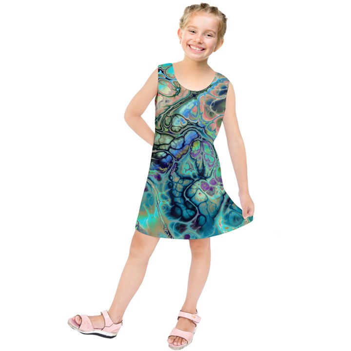 Fractal Batik Art Teal Turquoise Salmon Kids  Tunic Dress