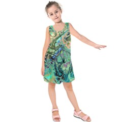 Fractal Batik Art Teal Turquoise Salmon Kids  Sleeveless Dress