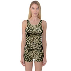 Brown Reptile One Piece Boyleg Swimsuit