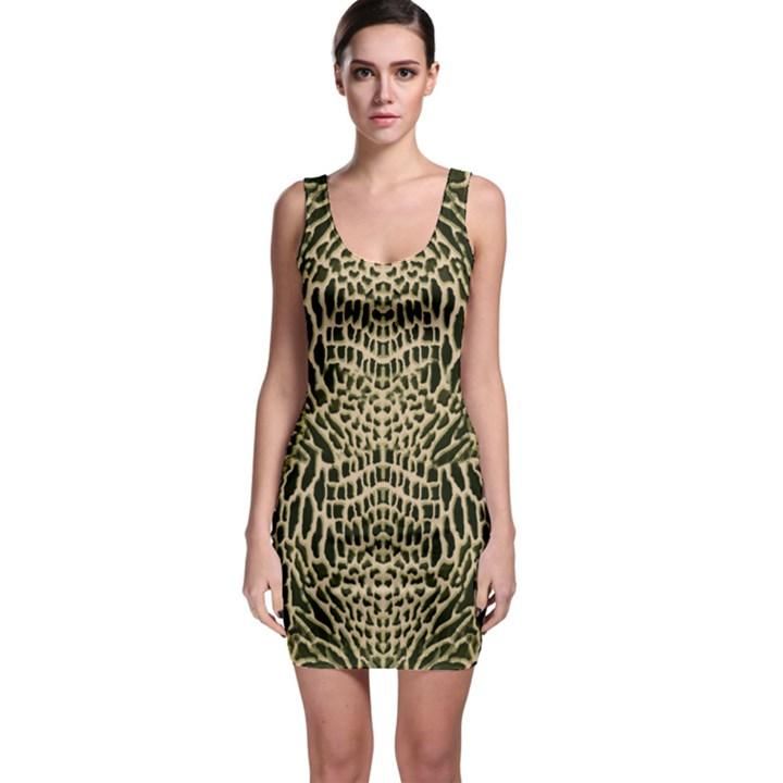 BROWN REPTILE Sleeveless Bodycon Dress