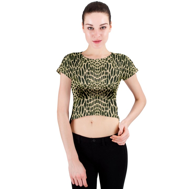 BROWN REPTILE Crew Neck Crop Top