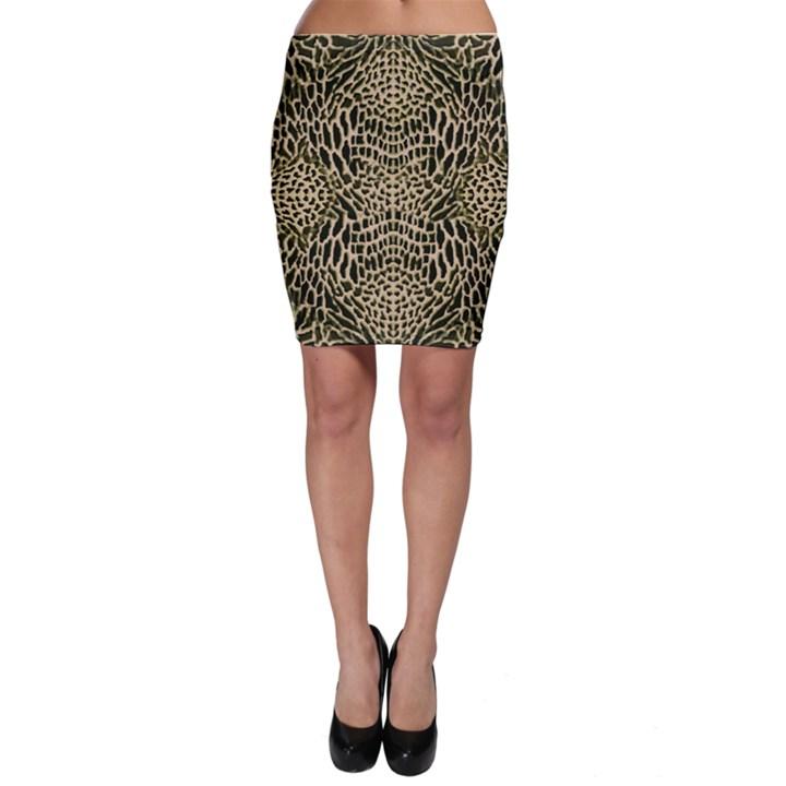 BROWN REPTILE Bodycon Skirt