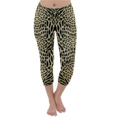 BROWN REPTILE Capri Winter Leggings