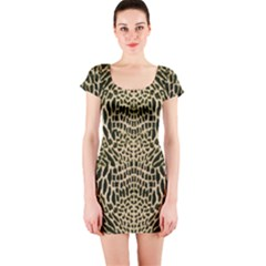 Brown Reptile Short Sleeve Bodycon Dress