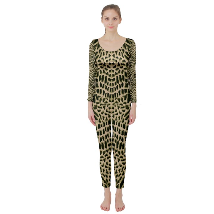 BROWN REPTILE Long Sleeve Catsuit