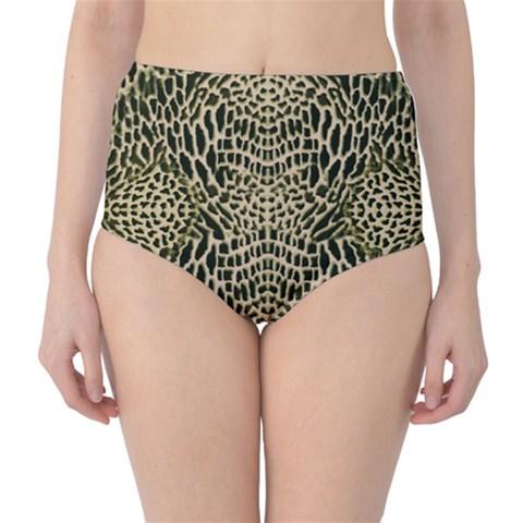 BROWN REPTILE High-Waist Bikini Bottoms
