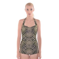 BROWN REPTILE Boyleg Halter Swimsuit